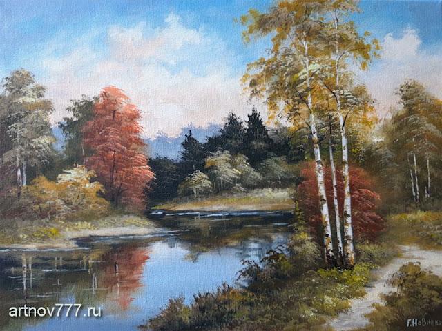 Картина, холст, масло, 30х40см. Тропинка у лесной реки