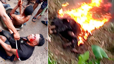 2 Men Roasted Alive For Stealing In Imo State (Viewers Discretion)