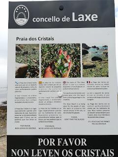 Cartel informativo, Praia dos cristais, Laxe, A Coruña