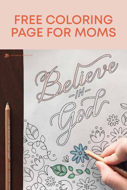 image of a coloring page with flowers and the words Believe in God