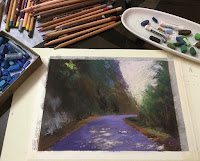 Initial step to creating a soft pastel painting, a scene from Sikkim