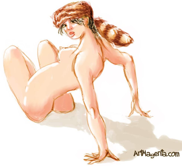 Coonskin cap is a life drawing by artist and illustrator Artmagenta