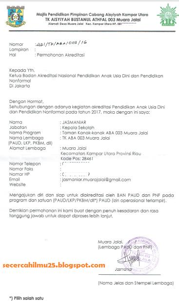 Contoh Fomat Surat Permohonan Akreditasi Paud Dan Pnf Secercah Ilmu