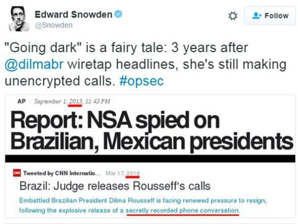 Going dark is a fairy tale: 3 years after @dilmabr wiretap headlines, she's stiil making unencrypted calls #opsec