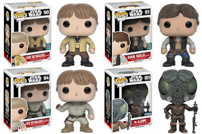 "Star Wars Celebration 2016 Exclusive Pop! Vinyl Figures by Funko - ""Ceremony"" Luke Skywalker, ""Ceremony"" Han Solo, ""Bespin Encounter"" Luke Skywalker & 4-LOM"