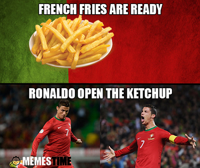 Meme Cristiano Ronaldo – French Fries are ready, Ronaldo open the Ketchup