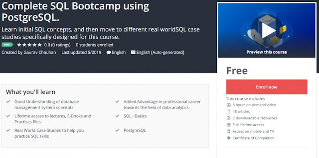 [100% Free] Complete SQL Bootcamp using PostgreSQL.