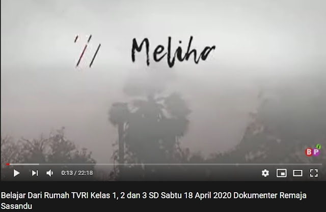 Belajar Dari Rumah TVRI Sabtu, 18 April 2020 Kelas 1, 2 dan 3 SD Dokumenter Remaja Sasandu