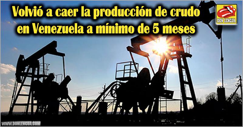 Volvió a caer la producción de crudo en Venezuela a mínimo de 5 meses