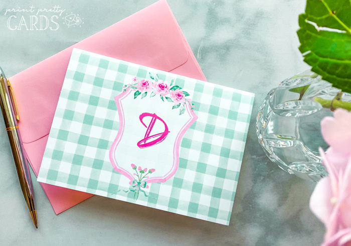 Free Printable Cards with Monogram Letters