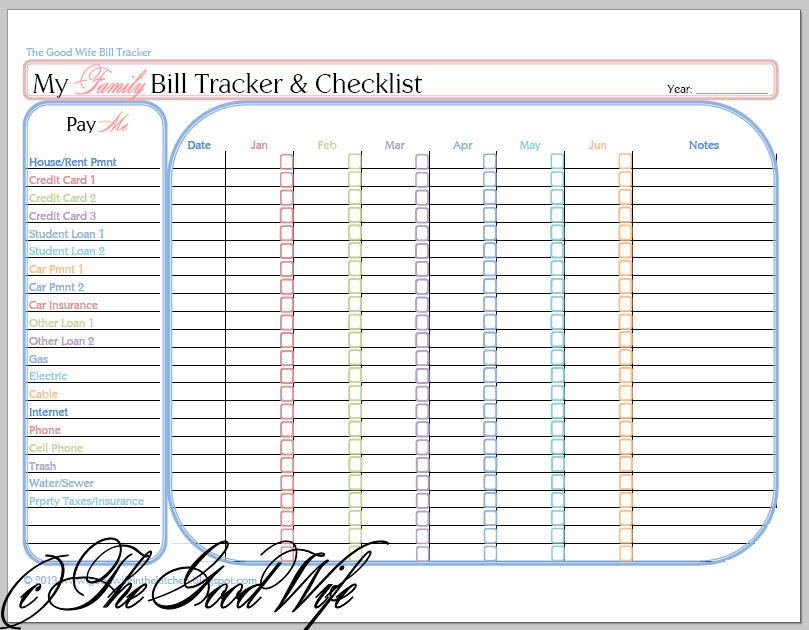 the good wife new budget worksheet bill tracker and checklist. Black Bedroom Furniture Sets. Home Design Ideas