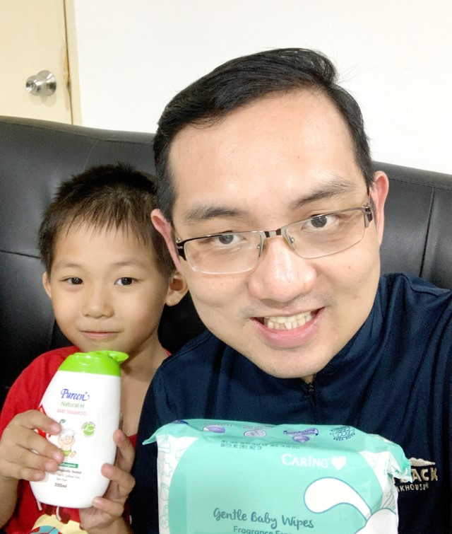 With Martin, and some of the products we got from Caring Pharmacy