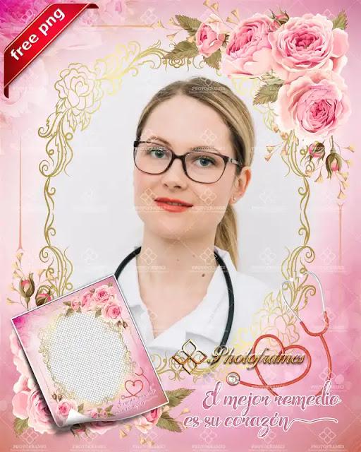 Marco para fotos color rosa para el día del medico