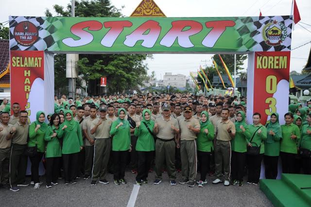 Memeriahkan Hari Juang TNI AD Tahun 2019, Korem 031/WB Jalan Santai dan Senam Bersama