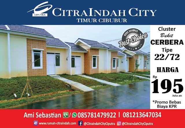 Bukit CERBERA Citra Indah City dipasarkan - Tipe 22/72 Harga Mulai 195 Jt an