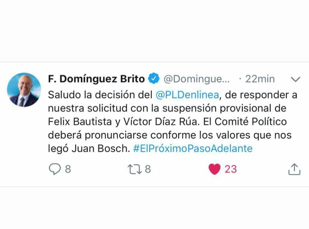 Domínguez Brito saluda la decisión de suspender a Félix Bautista y Víctor Díaz Rúa