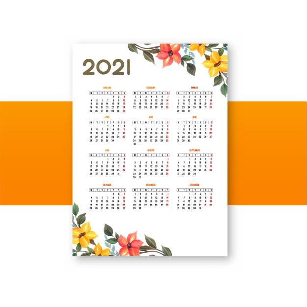 Plantilla de calendario 2021 anual gratis