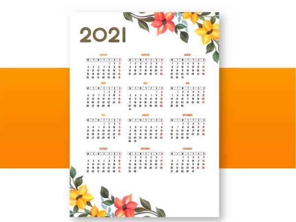 plantilla de calendario anual 2021 gratis