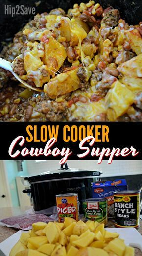 Slow Cooker Cowboy Supper (Easy Weeknight Meal idea) a#recipes #dinnerrecipes #quickdinnerrecipes #deliciousdinnerrecipes #quickanddeliciousdinnerrecipes #food #foodporn #healthy #yummy #instafood #foodie #delicious #dinner #breakfast #dessert #lunch #vegan #cake #eatclean #homemade #diet #healthyfood #cleaneating #foodstagram