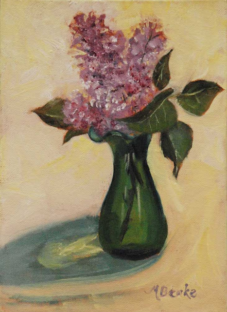 Small oil still life painting of purple lilacs in green glass vase. Realistic floral by Mary Benke