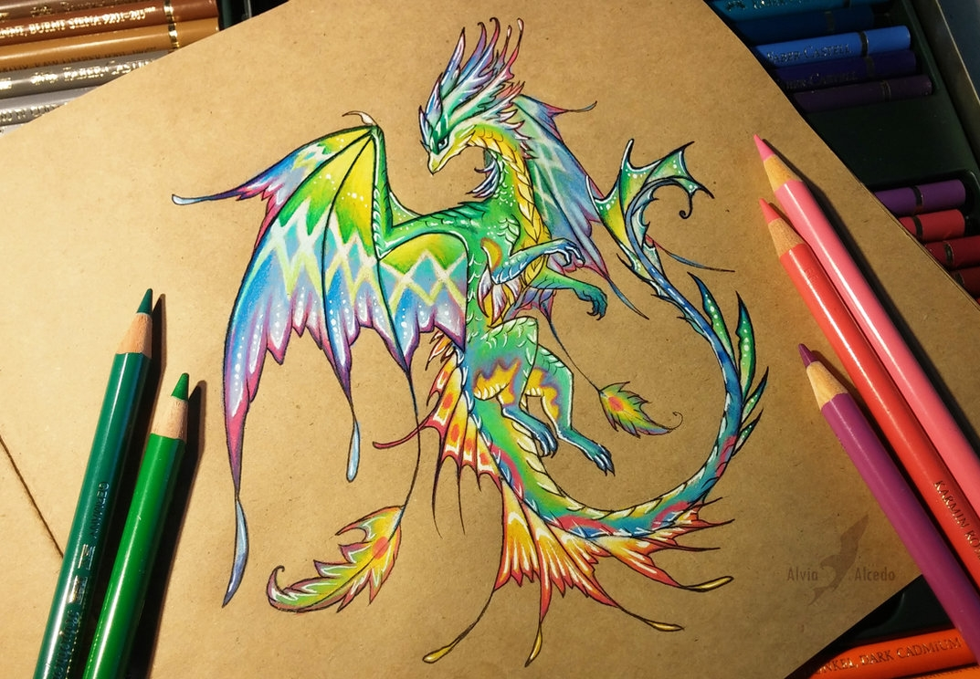 02-Tropical-forest-dragon-Alvia-Alcedo-Dragon-and-other-Mythical-Fantasy-Drawings-www-designstack-co