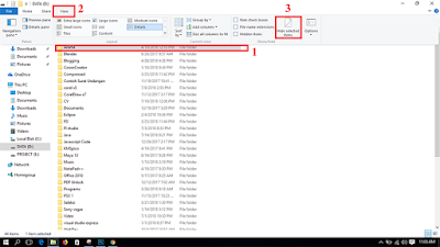 Memilih pengaturan hidden items pada windows 10