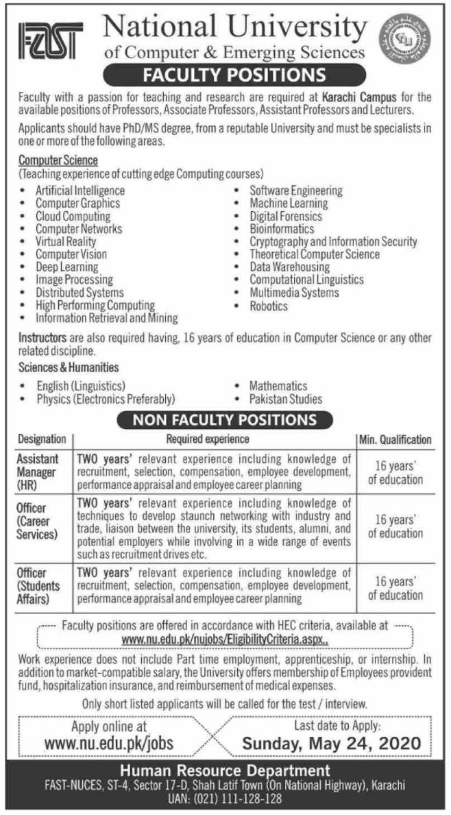 FAST National University of Computer & Emerging Sciences Jobs 2020