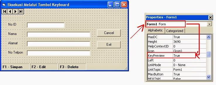 Cara Mengeksekusi Perintah-Perintah Visual Basic 6.0 Melalui Tombol Keyboard