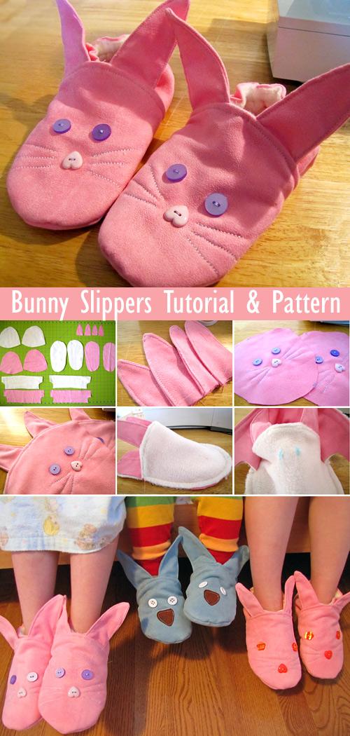 Bunny Slippers Tutorial + Pattern