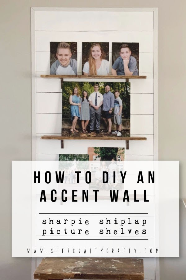 How to DIY an Accent Wall with sharpie shiplap and picture ledges