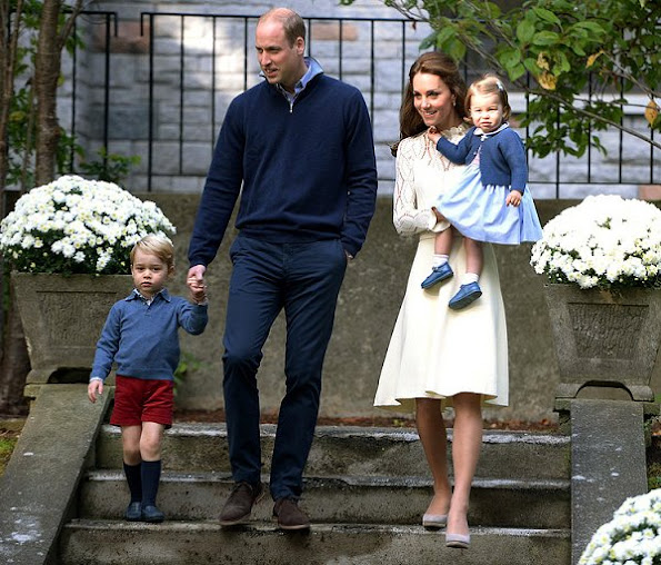 Kate Middleton wore SEE BY CHLOÉ Pointelle Knit Cotton Blend Dress. Monsoon Fleur wedges, Kiki Earrings, Acne Belt