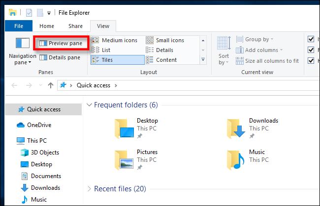 انقر فوق جزء المعاينة في مستكشف ملفات Windows 10