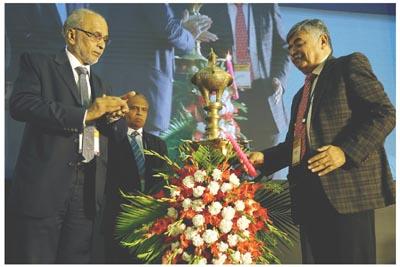 Bhaskar Bhat, MD ,Titan Co. Ltd with P. Ramadas, President, IMTMA, Indradev Babu, VP, IMTMA at NPS 2019 inauguration