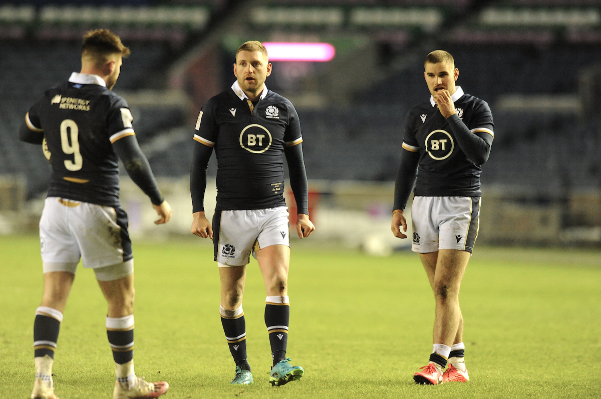 Scotland's Finn Russell, James Lang and Ali Price.