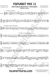Partitura de Flauta Travesera, flauta dulce y flauta de pico Mix 2 Sheet Music for Flute and Recorder Music Score