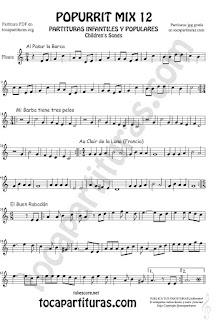 Partitura de Flauta Travesera, flauta dulce y flauta de pico Mix 2 Sheet Music for Flute and Recorder Music Score