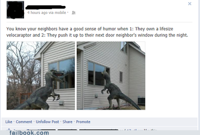 neighbours with large dinosaur funny