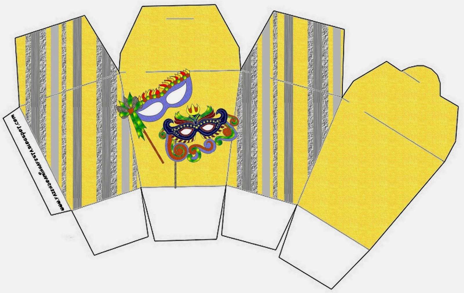 Máscaras de Carnaval: Cajas para Imprimir Gratis.   Ideas y material ...