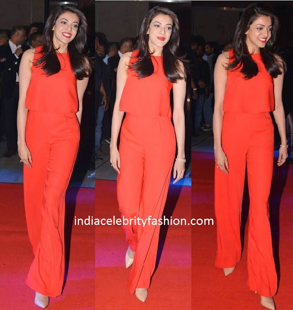 Kajal Aggarwal in Red Dress at Oopiri Music Launch