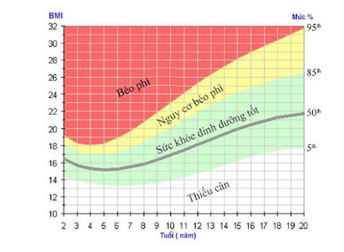 Biểu đồ biểu thị tỷ lệ phần trăm BMI theo tuổi ở trẻ em