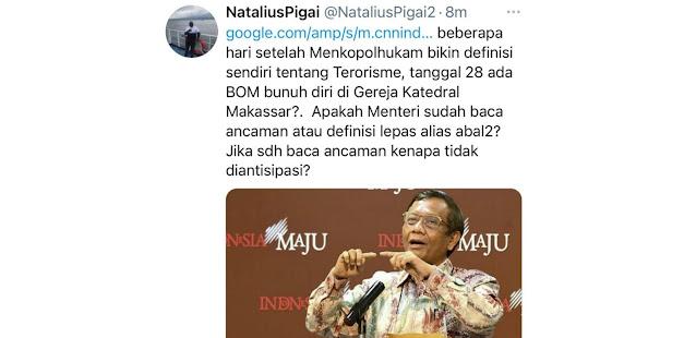Bom Makassar Terjadi Usai Mahfud MD Bicara Terorisme, Pigai: Kenapa Tidak Diantisipasi?