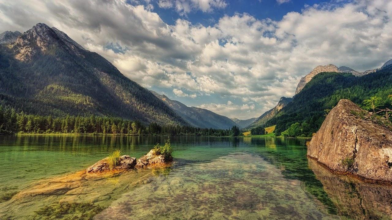 منظر طبيعى وخلاب يشمل الحشائش الخضراء وجبل