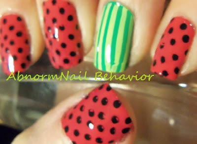 watermelon-nail-art-polka-dot