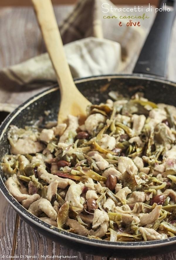 Straccetti di pollo con carciofi e olive