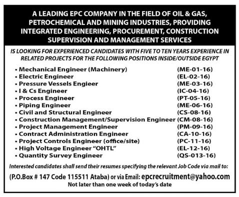 """اعلان وظائف البترول للمؤهلات العليا """" للذكور والاناث """" منشور بجريدة الاهرام والتقديم على الانترنت"""