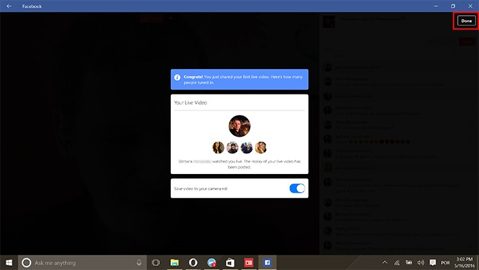 Facebook Live su Windows 10 App Desktop HTNovo