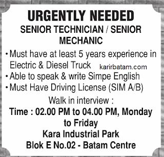 Lowongan Kerja Senior Technician Batam