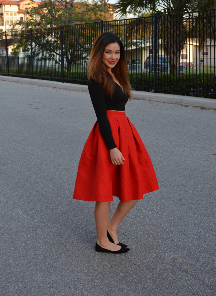 midi skirt, red midi skirt, oasap, Fashion Structured Pleated Skirt, Oasap Fashion Structured Pleated Skirt, Midi Skirt Outfits, Charlotte Russe Plunge Crop Top, Crop Top, Charlotte Russe, Makemechic Pointy Flats, Makemechic