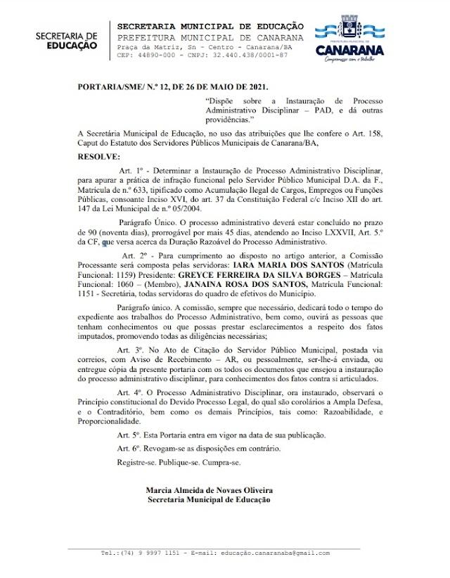 CANARANA BAHIA: Funcionário Público Será investigado por acumulo ilegal de cargo