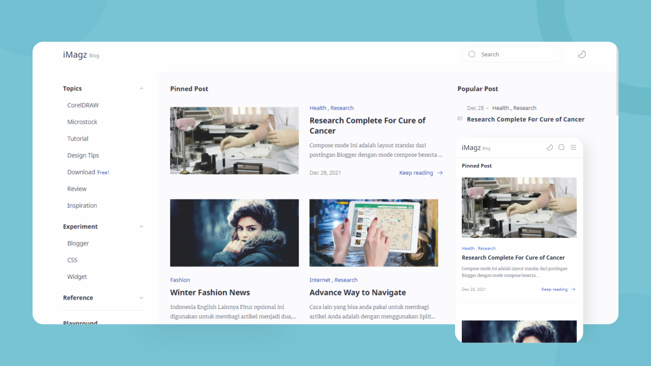 Template Blogger iMagz + Landing Page